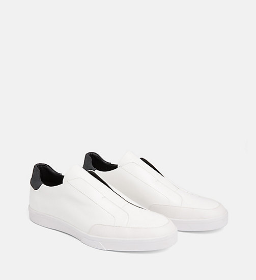 CALVINKLEIN Leather Slip-On Shoes - WHITE - CALVIN KLEIN FLAT SHOES - detail image 1