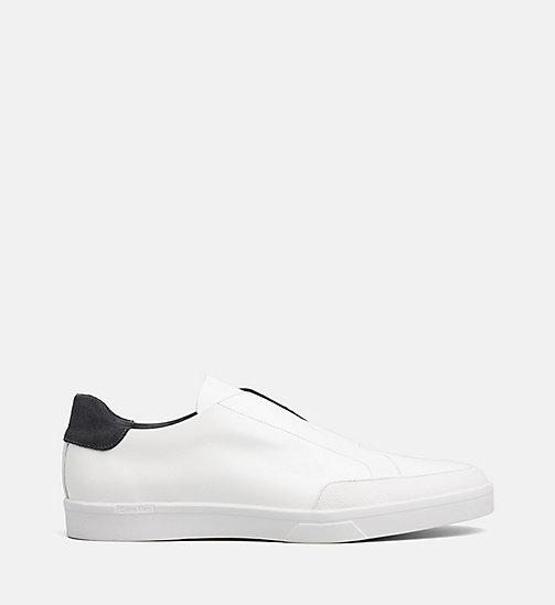 CALVINKLEIN Leather Slip-On Shoes - WHITE - CALVIN KLEIN FLAT SHOES - main image