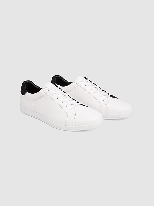 CALVINKLEIN Leather Sneakers - WHITE - CALVIN KLEIN TRAINERS - detail image 1