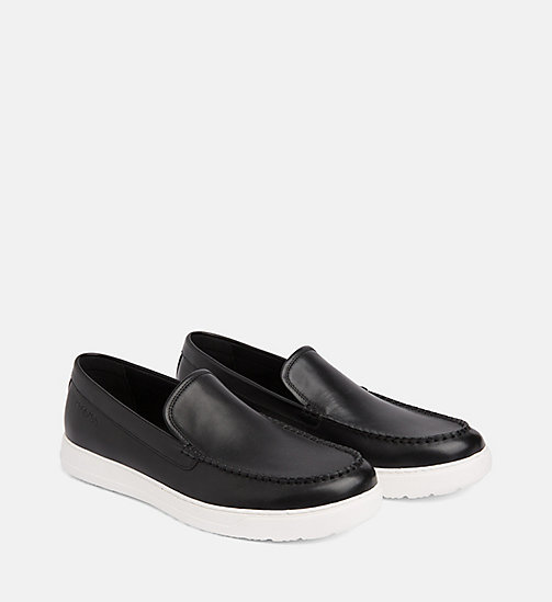 CALVIN KLEIN Leather Loafers - BLACK - CALVIN KLEIN FLAT SHOES - detail image 1
