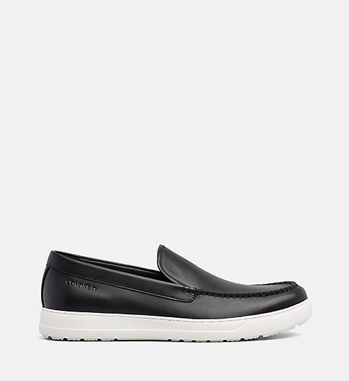 CALVIN KLEIN Leather Loafers - BLACK - CALVIN KLEIN FLAT SHOES - main image