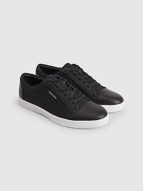 CALVINKLEIN Leather Canvas Sneakers - BLACK - CALVIN KLEIN TRAINERS - detail image 1
