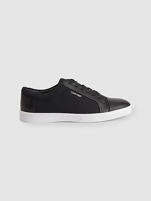 CALVINKLEIN Leather Canvas Sneakers - BLACK - CALVIN KLEIN TRAINERS - main image