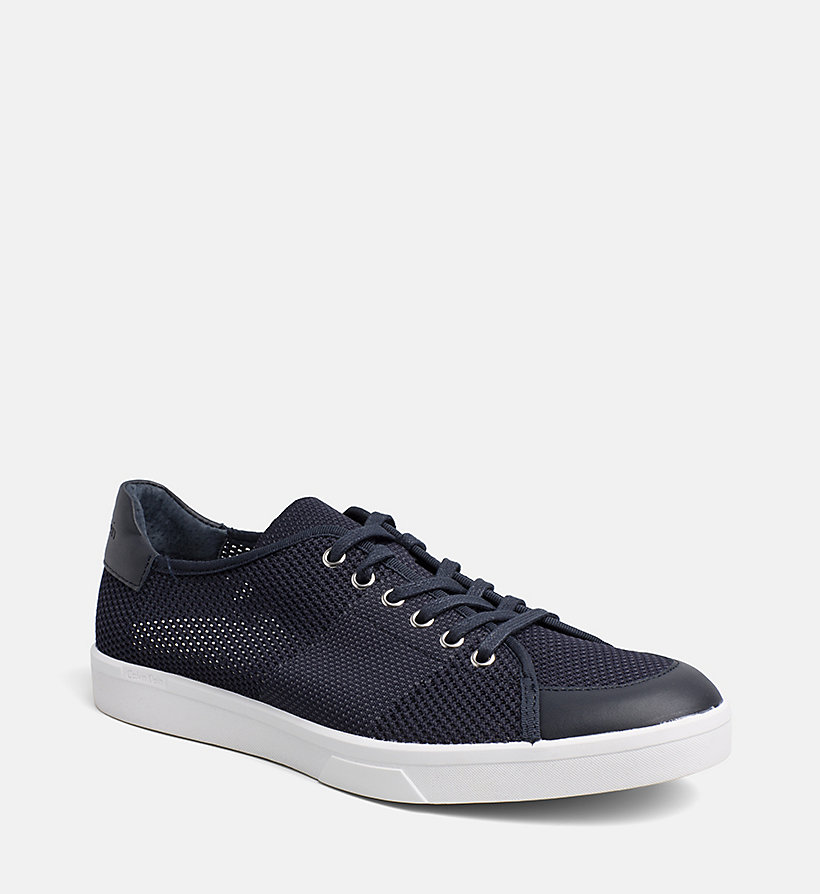 CALVINKLEIN Leather Knit Sneakers - WHITE - CALVIN KLEIN MEN - main image