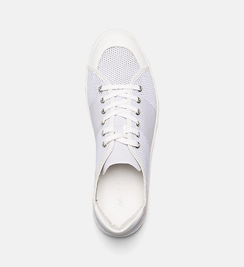 CALVINKLEIN Leather Knit Sneakers - WHITE -  TRAINERS - detail image 1