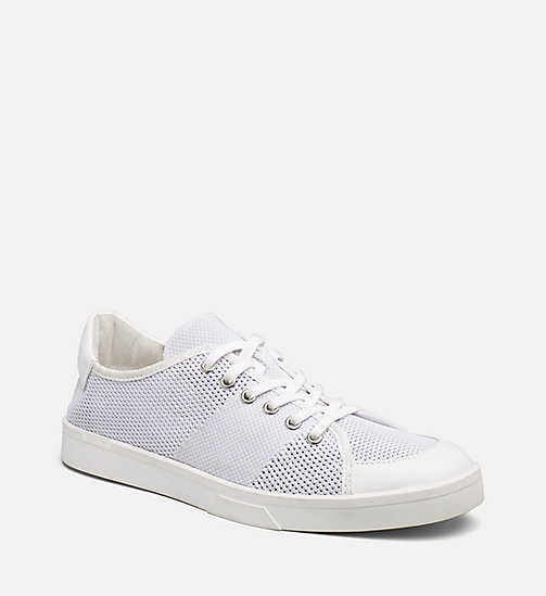 CALVINKLEIN Leather Knit Sneakers - WHITE - CALVIN KLEIN SHOES & ACCESSORIES - main image