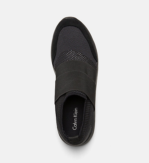 CALVINKLEIN Suede Knit Slip-On Shoes - BLACK - CALVIN KLEIN BAGS & ACCESSORIES - detail image 1