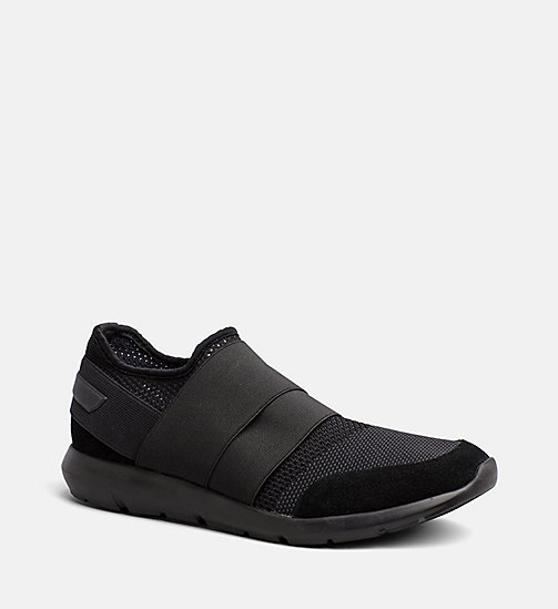 CALVINKLEIN Suede Knit Slip-On Shoes - BLACK - CALVIN KLEIN TRAINERS - main image