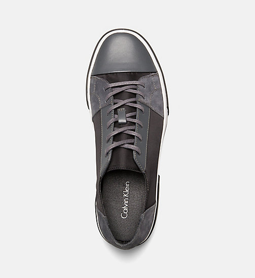 CALVINKLEIN Leather Sneakers - GREY - CALVIN KLEIN TRAINERS - detail image 1