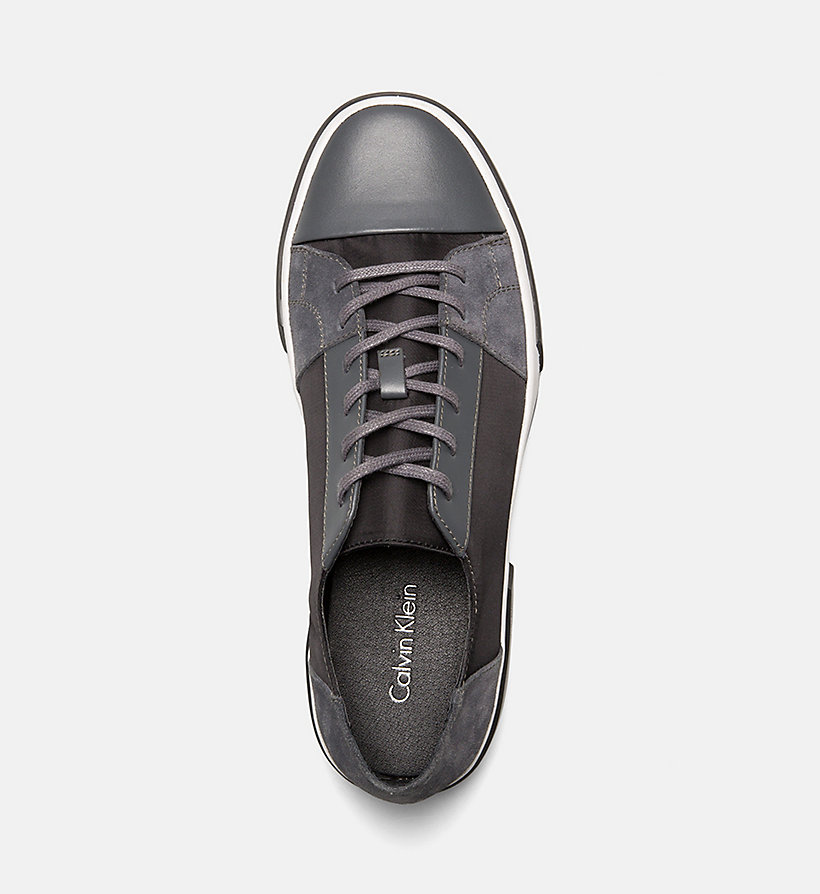 CALVINKLEIN Leather Sneakers - BLACK - CALVIN KLEIN MEN - detail image 1