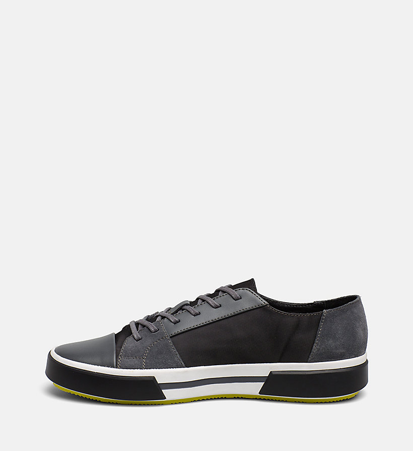 CALVINKLEIN Leather Sneakers - BLACK - CALVIN KLEIN MEN - detail image 2