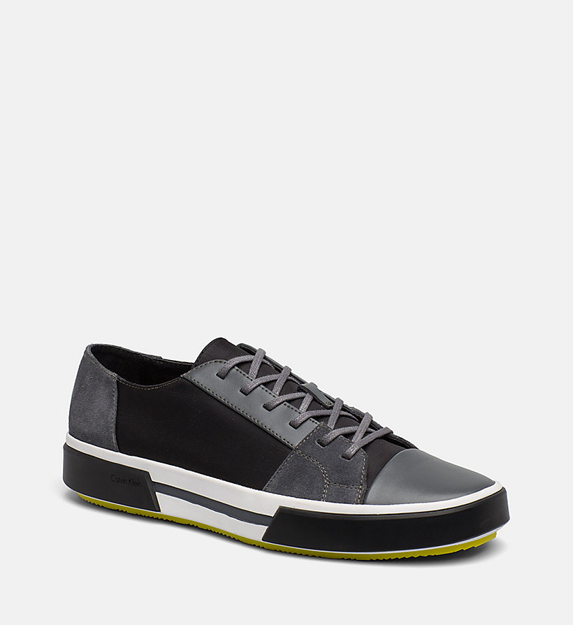CALVINKLEIN Leather Sneakers - BLACK - CALVIN KLEIN MEN - main image