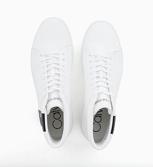 CALVIN KLEIN Leather High-Top Trainers - WHITE / BLACK - CALVIN KLEIN TRAINERS - detail image 1