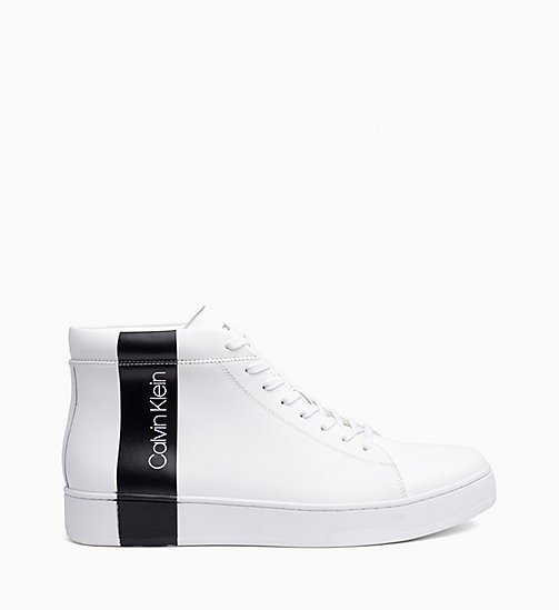 CALVIN KLEIN Leather High-Top Trainers - WHITE / BLACK - CALVIN KLEIN TRAINERS - main image