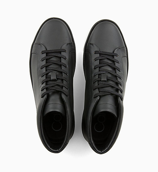CALVIN KLEIN Leather High-Top Trainers - BLACK - CALVIN KLEIN TRAINERS - detail image 1