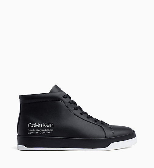 CALVIN KLEIN Leather High-Top Trainers - BLACK - CALVIN KLEIN TRAINERS - main image