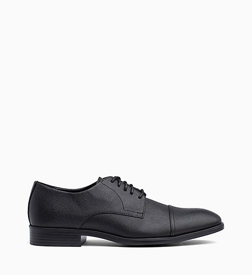 CALVIN KLEIN Leather Lace-Up Shoes - BLACK - CALVIN KLEIN FLAT SHOES - main image
