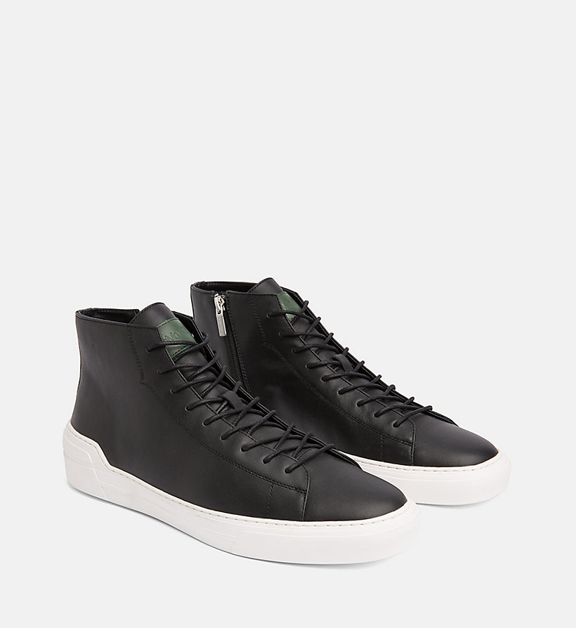 CALVINKLEIN Leather High-Top Trainers - NIGHT SCAPE - CALVIN KLEIN MEN - detail image 1