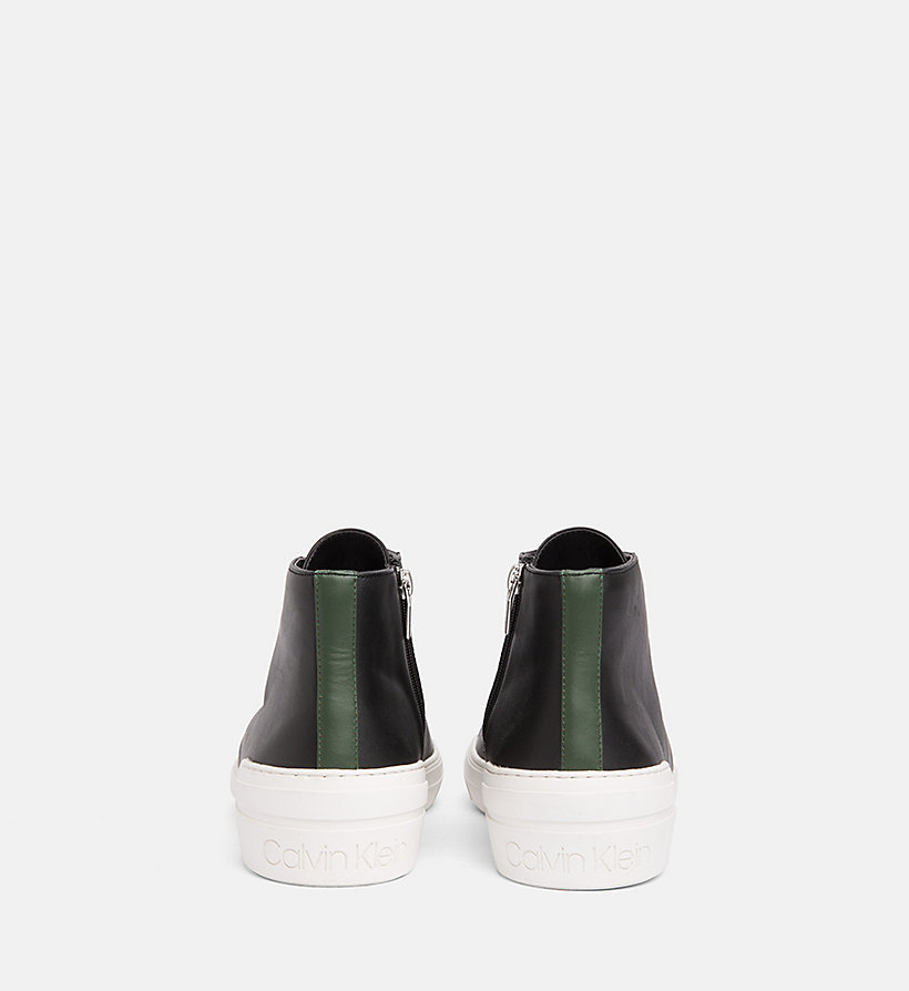CALVINKLEIN Leather High-Top Trainers - NIGHT SCAPE - CALVIN KLEIN MEN - detail image 2