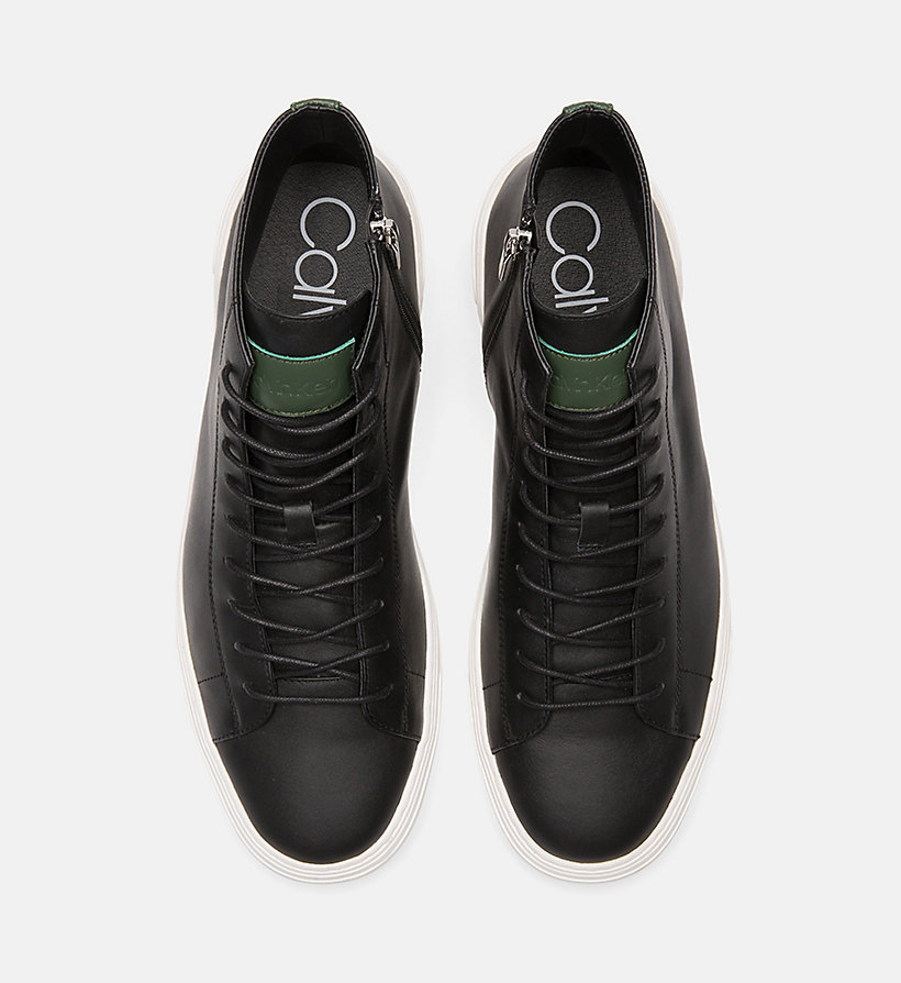 CALVINKLEIN Leather High-Top Trainers - NIGHT SCAPE - CALVIN KLEIN MEN - detail image 3