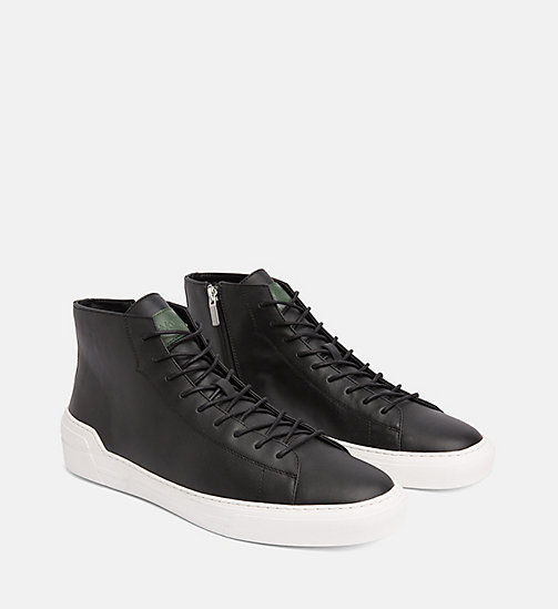 CALVIN KLEIN Leather High-Top Trainers - BLACK -  TRAINERS - detail image 1