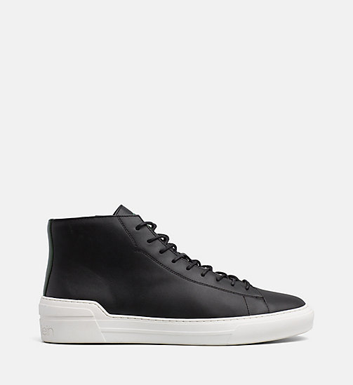 CALVINKLEIN Leather High-Top Trainers - BLACK - CALVIN KLEIN TRAINERS - main image