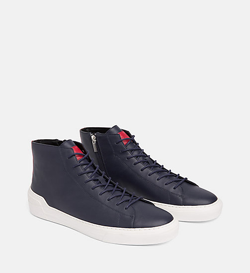 CALVINKLEIN Leather High-Top Sneakers - NIGHTSCAPE - CALVIN KLEIN TRAINERS - detail image 1