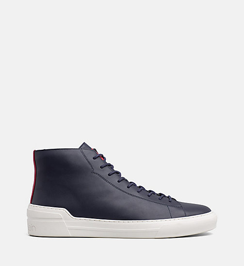 CALVIN KLEIN Leather High-Top Trainers - NIGHT SCAPE - CALVIN KLEIN TRAINERS - main image