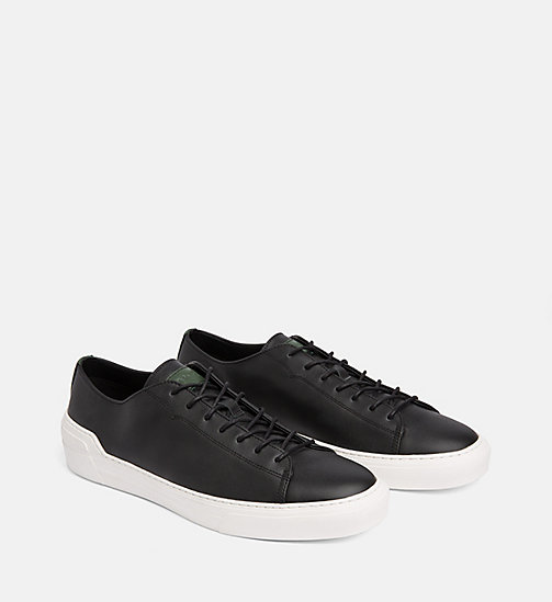 CALVINKLEIN Leather Trainers - BLACK - CALVIN KLEIN TRAINERS - detail image 1