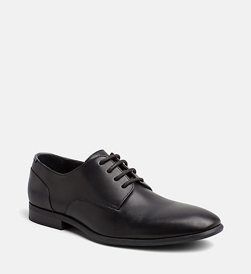 CALVINKLEIN Leather Lace-Up Shoes - BLACK -  FLAT SHOES - main image
