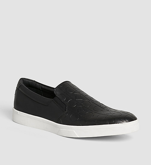CALVINKLEIN Leather Slip-On Shoes - BLACK/BLACK - CALVIN KLEIN FLAT SHOES - main image
