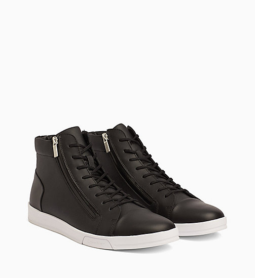 CALVINKLEIN Leather High-Top Sneakers - BLACK - CALVIN KLEIN SHOES & ACCESSORIES - detail image 1