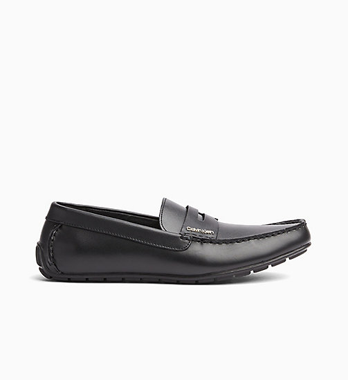 CALVINKLEIN Leather Loafers - BLACK -  FLAT SHOES - main image