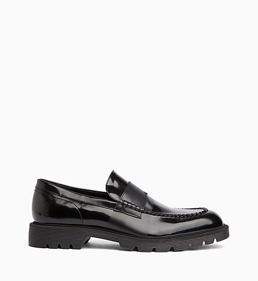 CALVIN KLEIN Leather Loafers - BLACK/BLACK - CALVIN KLEIN FLAT SHOES - main image