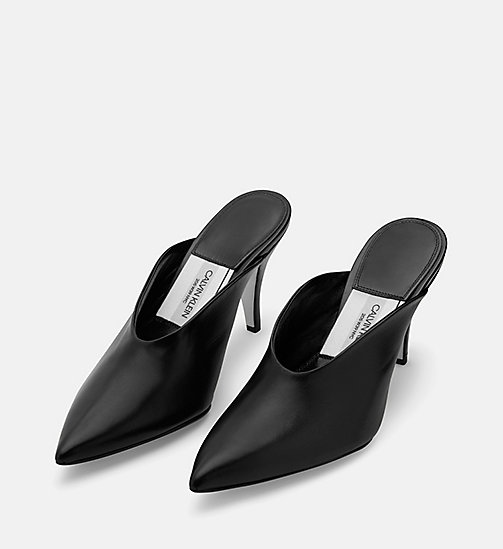 CALVIN KLEIN COLLECTION Calf Leather Heeled Mules - BLACK - CALVIN KLEIN COLLECTION SHOES & ACCESSORIES - detail image 1