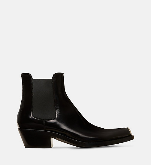 CALVIN KLEIN COLLECTION Botas Chelasea de piel con puntera plateada 205 - BLACK - CALVIN KLEIN COLLECTION #MYCALVINS WOMEN - imagen principal
