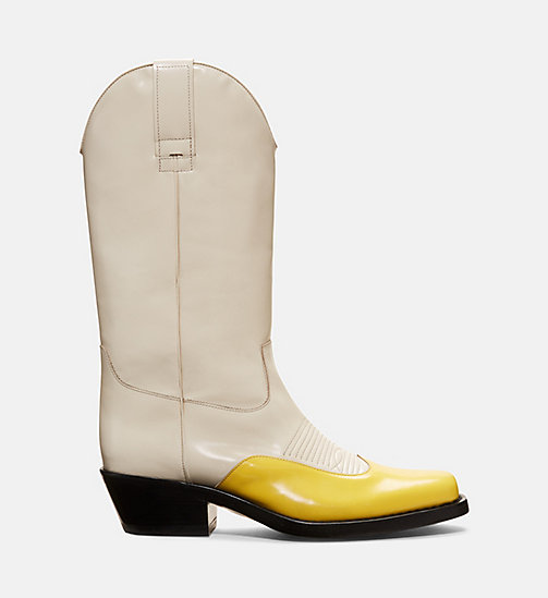 CALVINKLEIN Two-tone Western Leather Boots - SUNFLOWER/CREAM - CALVIN KLEIN WOMEN - main image