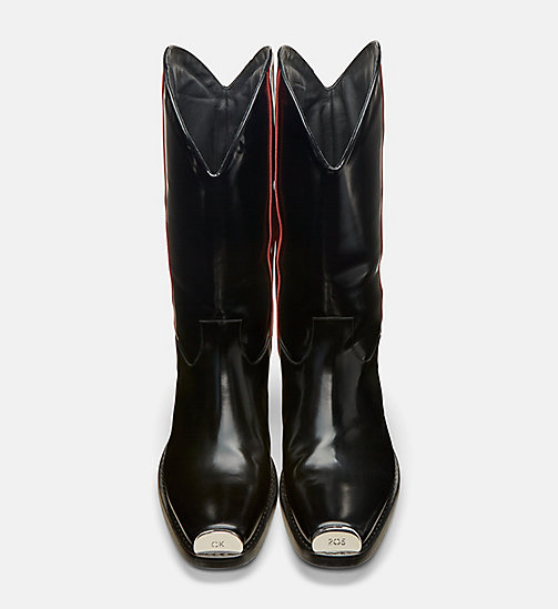 CALVIN KLEIN COLLECTION Leather Western Boots with 205 Silver Toe Plate - BLACK/ RED - CALVIN KLEIN COLLECTION SHOES & ACCESSORIES - detail image 1