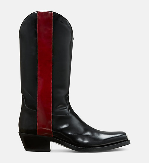 CALVIN KLEIN COLLECTION Leather Western Boots with 205 Silver Toe Plate - BLACK/ RED - CALVIN KLEIN COLLECTION SHOES & ACCESSORIES - main image