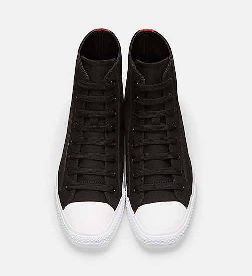 CALVINKLEIN Canvas High-Top Sneakers - BLACK/RED - CALVIN KLEIN WOMEN - detail image 1