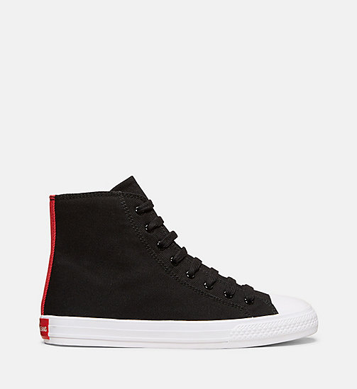 CALVINKLEIN Canvas High-Top Sneakers - BLACK/RED - CALVIN KLEIN WOMEN - main image