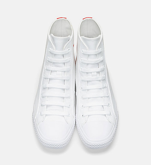 CALVINKLEIN Canvas High-Top Sneakers - WHITE/RED - CALVIN KLEIN WOMEN - detail image 1