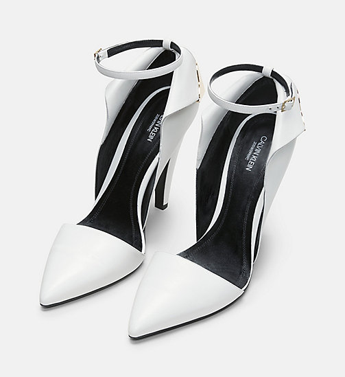 CALVIN KLEIN COLLECTION Calf Leather High-Heeled Deco Pumps - WHITE - CALVIN KLEIN COLLECTION SHOES & ACCESSORIES - detail image 1