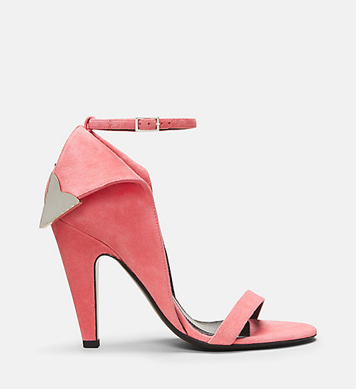 CALVIN KLEIN COLLECTION Suede High-Heeled Deco Sandals - BLUSH - CALVIN KLEIN COLLECTION SHOES & ACCESSORIES - main image