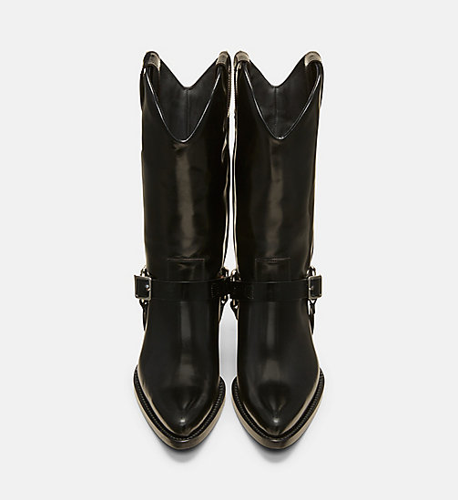 CALVIN KLEIN COLLECTION Harness Calf Leather Western Ankle Boots - BLACK - CALVIN KLEIN COLLECTION SHOES & ACCESSORIES - detail image 1
