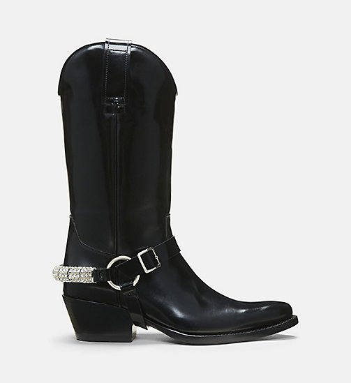 CALVIN KLEIN COLLECTION Harness Calf Leather Western Ankle Boots - BLACK - CALVIN KLEIN COLLECTION SHOES & ACCESSORIES - main image