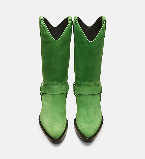 CALVIN KLEIN COLLECTION Suede Western Ankle Boots - EMERALD - CALVIN KLEIN COLLECTION SHOES & ACCESSORIES - detail image 1