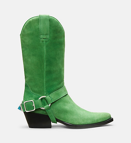 CALVIN KLEIN COLLECTION Suede Western Ankle Boots - EMERALD - CALVIN KLEIN COLLECTION SHOES & ACCESSORIES - main image