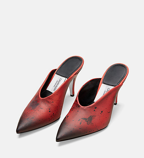 CALVIN KLEIN COLLECTION Distressed Leather Heeled Mules - RED/ BLACK - CALVIN KLEIN COLLECTION SHOES & ACCESSORIES - detail image 1
