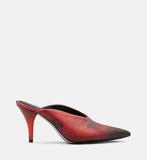 CALVIN KLEIN COLLECTION Distressed Leather Heeled Mules - RED/ BLACK - CALVIN KLEIN COLLECTION SHOES & ACCESSORIES - main image